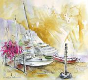 Village By The Sea Drawings Prints - Agua Amarga 13 Print by Miki De Goodaboom