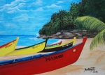 Puerto Rico Paintings - Aguadilla Crashboat Beach by Gloria E Barreto-Rodriguez