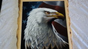 Usa Flag Pastels Framed Prints - Aguila Framed Print by Kasper Castillo