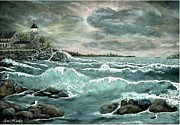 Seagull Pastels Posters - ah-001-006 Afternoon Storm at   Lillians s Lighthouse Poster by Ave Hurley