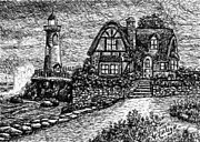 Pen  Pastels - AH-001-012 Cottage Lighthouse - Ave Hurley by Ave Hurley