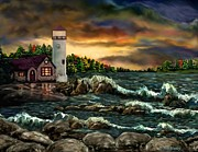Scenic Pastels Posters - AH-001-015 Davids Point Lighthouse  - Ave Hurley Poster by Ave Hurley