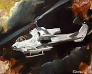 Marines Painting Originals - AH-1W Cobra by Stephen Roberson