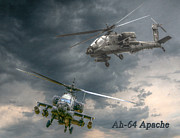 U.s. Army Digital Art Posters - Ah-64 Apache Attack Helicopter in Flight Poster by Randy Steele