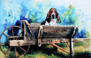 Hound Framed Prints - Ah Pooey Framed Print by Hanne Lore Koehler