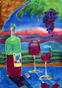 Wine Glasses Mixed Media Prints - Ah Western Wines Print by Jill Targer