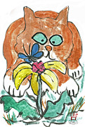 Pictures Of Cats Prints - Ahhh Spring Print by Ellen Miffitt