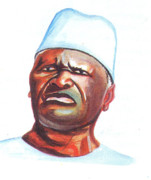 Politics Paintings - Ahmed Sekou Toure by Emmanuel Baliyanga