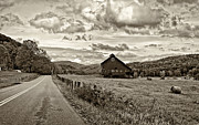 Hay Bale Photos - Ah...West Virginia sepia by Steve Harrington