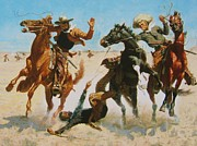 Frederic Remington Painting Framed Prints - Aiding A Comrade Framed Print by Pg Reproductions