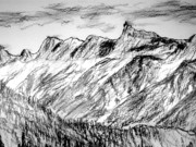 Alps Drawings - Aiguille du Midi by Michael Canning