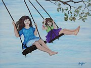 Swing Set Painting Acrylic Prints - Aiming High Acrylic Print by Audrey Sullivan
