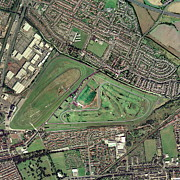 Steeplechase Race Framed Prints - Aintree Horse Racing Track, Aerial Image Framed Print by Getmapping Plc