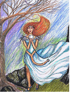 Faerie Drawings - Aiofe by Janice T Keller-Kimball