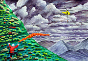 Helicopters Paintings - Air Ambulance Mountain Rescue by Ronald Haber
