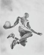 Basketball Sports Drawings Prints - Air Ball Print by Jennifer Whittemore