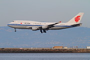 San Francisco Airport Posters - Air China Airlines Jet Airplane At San Francisco International Airport SFO . 7D12273 Poster by Wingsdomain Art and Photography