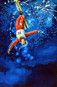 Skiing Prints Painting Originals - Air Force by Hanne Lore Koehler