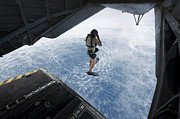 Mid-air Prints - Air Force Pararescueman Jumps Print by Stocktrek Images