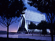 Colorado Photo Posters - Air Force The Cadet Chapel Poster by GerMaine Photography
