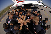 Large Group Of People Posters - Air Force Thunderbird Maintainers Bring Poster by Stocktrek Images