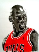Sports Art Drawings Posters - Air Jordan Raging Bull Drawing Poster by Keeyonardo