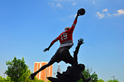 Michael Jordan Photo Prints - Air over City Print by Daniel Ness
