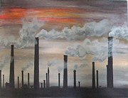 Factories Painting Framed Prints - Air pollution Framed Print by Annemeet Van der Leij