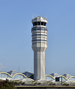 Traffic Control Photos - Air Traffic Control Tower at Reagan National Airport by Brendan Reals