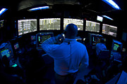 Control Room Photo Posters - Air Traffic Controller Watches Poster by Stocktrek Images