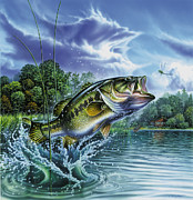 Fishing Painting Posters - Airborne Bass Poster by JQ Licensing