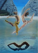 Golden Pants Painting Originals - Airborne by Juan Romagosa