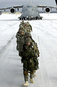 Snow Boarding Prints - Airborne Soldiers Board A C-17 Print by Stocktrek Images