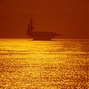 Carrier Framed Prints - Aircraft Carrier At Sunset Framed Print by Stocktrek Images