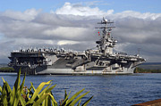 Man The Rails Prints - Aircraft Carrier Uss Abraham Lincoln Print by Stocktrek Images
