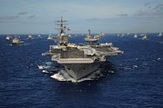 Training Prints - Aircraft Carrier Uss Ronald Reagan Print by Everett