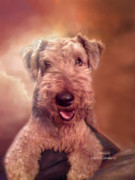 Animal Art Print Mixed Media Posters - Airedale Poster by Carol Cavalaris
