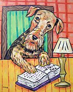 Library Paintings - Airedale Terrier at the Library by Jay  Schmetz
