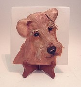 Featured Sculpture Originals - Airedale Terrier by Suzanne Schaefer