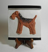 Featured Sculpture Originals - Airedale Terrier Tile by Suzanne Schaefer