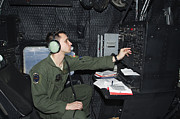 Command Center Framed Prints - Airman At Work As Radio Operator In An Framed Print by Gert Kromhout