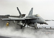F-18 Prints - Airman Gives The Okay To Launch An Print by Stocktrek Images