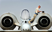 Us Open Framed Prints - Airman Performs An Intake And Exhaust Framed Print by Stocktrek Images