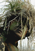 Blending Prints - Airman Wearing A Ghillie Suit Print by Stocktrek Images