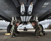 Plane Prints - Airmen Check The Gbu-39 Small Diameter Print by Stocktrek Images