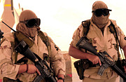 Sandstorm Prints - Airmen Guard An Entry Control Point Print by Stocktrek Images