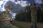 Field Glasses Prints - Airmen Use A Range Finder And Gps Unit Print by Stocktrek Images