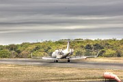 Airplane Photos Prints - Airplane Air Brakes ON Print by Pictures HDR
