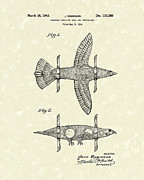 Flight Drawings Metal Prints - Airplane Bird Body Design 1943 Patent Art Metal Print by Prior Art Design
