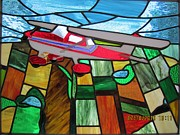 Fused Glass Art - Airplane in Flight by Gladys Espenson